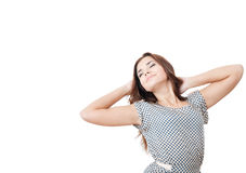 Young female  stretching with eyes closed. Young female with eyes closed  stretching  isolated on white Stock Photo