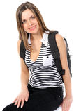 Young female student with a backpack Royalty Free Stock Photography