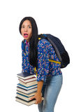 Young female student with books on white Stock Image