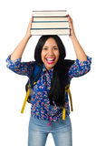 Young female student with books on white Royalty Free Stock Image
