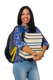 Young female student with books on white Stock Photos