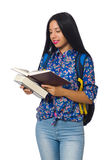Young female student with books on white Royalty Free Stock Photography