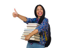Young female student with books on white Royalty Free Stock Images