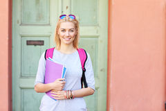 Young female student at the campus royalty free stock image