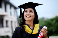 Young female student with diploma Stock Photo