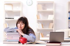 The young female student in educational concept. Young female student in educational concept Royalty Free Stock Photo