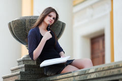Young female student before exam Royalty Free Stock Images