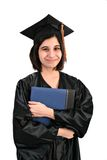 Young Female Student with Graduation Robe and Hat Stock Images