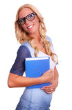 Young female student. Holding book as concept for studying Stock Photography