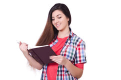 Young female student isolated Royalty Free Stock Images
