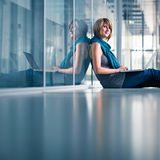 Young female student with a laptop Royalty Free Stock Photography