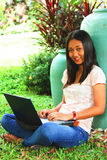 Young female student with a laptop computer in the yead Stock Images