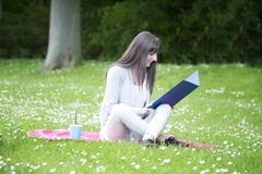 Young female student in the  park Royalty Free Stock Photography