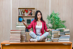 The young female student preparing for college school exams. Young female student preparing for college school exams Royalty Free Stock Photography