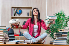 The young female student preparing for college school exams Royalty Free Stock Photos