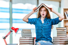 The young female student preparing for exams Royalty Free Stock Images