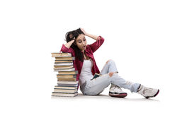 The young female student preparing for exams Stock Photography
