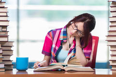 The young female student preparing for exams Royalty Free Stock Photos