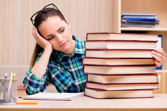 The young female student preparing for exams Stock Photos