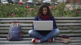 Young female student sitting on bench outdoors full-absorbed in the study