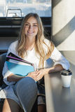 Young female student in study area Stock Photo