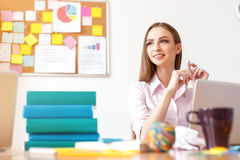 Young female student studying at home Stock Images