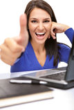 Young female student with thumbs up Royalty Free Stock Photography