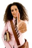 Young female student with thumbs up Royalty Free Stock Photos