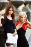 Young female students on campus Stock Images