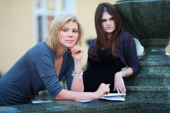 Young female students before exam Royalty Free Stock Photography