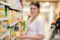 Young Female in Supermarket Stock Photography