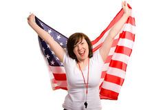 Young female supporter of usa team, isolated Royalty Free Stock Images