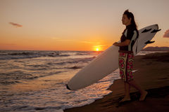Young female surfer on beach in sunset. Young female surfer in wetsuit going in the water with board on sandy beach in sunset Stock Photo