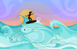 Young female surfer rides on ocean waves cartoon style. Vector silhouette of young female surfer riding on ocean waves stylized as fantasy big fishes. Cartoon Stock Photography