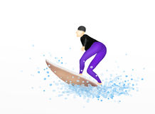Young Female Surfer on A Surfboard Blasting Throug. Hand Drawing, Young Woman Surfer on A Surfboard Blasting Through A Perfect Wave on A Nice Summer day Royalty Free Stock Photos