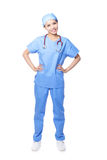 Young female surgeon doctor. Or nurse full length portrait isolated on white background, model is a asian woman Royalty Free Stock Images
