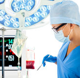 Young female surgeon with scalpel in operation room Royalty Free Stock Photography