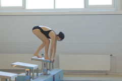 Young female swimmer in low position on starting block in a swimming pool. Royalty Free Stock Images