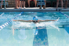 Young Female Swimming Butterfly royalty free stock photos