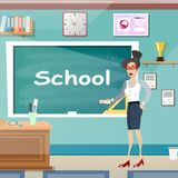 Young female teacher in class room. Vector illustration Stock Image