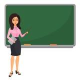 Young female teacher near blackboard teaching student in classroom at school, college or university. Flat design cartoon. Woman character Stock Photo