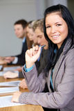 Young female and team of 4 business people Stock Photos