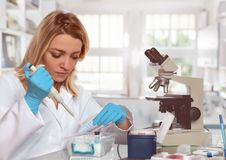 Young female tech or scientist loads liquid sample into test tub. Es. Shallow DOF, focus on the face and left hand Stock Photos
