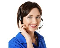 Young female technical support dispatcher. On white background stock images
