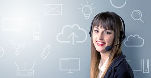 Young Female telemarketer Royalty Free Stock Photography