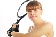 Young female tennis-player Royalty Free Stock Photo