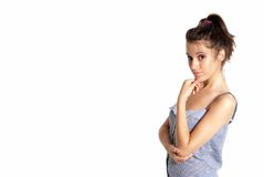 Young female thinking close-up portrait isolated. On white background royalty free stock image