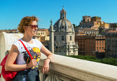 Young female tourist admiring the view of Rome Stock Photography