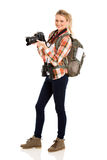 Young female tourist. Attractive young female tourist on white background royalty free stock photos