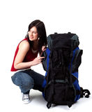 Young female tourist with backpack Stock Image